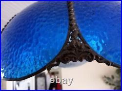 Vintage Victorian Style cobalt Blue Slag Glass Lamp Shade 18