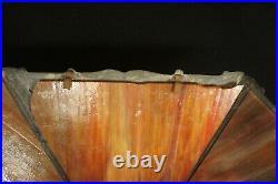 Vintage, antique, hexagonal slag glass lamp shade, orange red