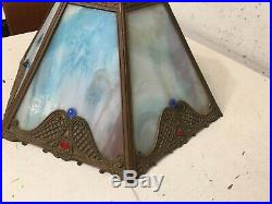 Vintage or Antique Slag Glass 6 Panel Lamp Shade With Blue Purple Tinted Glass