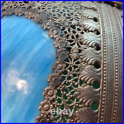 Vtg ANTIQUE Metal Filigree BEAUTIFUL Flowers SKY BLUE SLAG Glass Lamp Shade ONLY