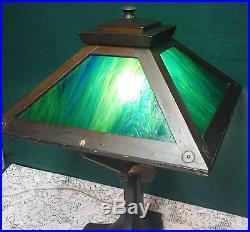 Vtg Antique 4 Panel Green Slag Glass Arts & Crafts Mission Lamp Dark Wood