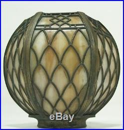 Vtg Arts & Crafts Signed HANDEL Slag Glass Leaded Overlay Single Bulb Lamp Shade