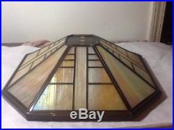 Vtg Carmel Slag Glass With copper Lamp Shade 8 Panels 15 X 15 A BEAUTY