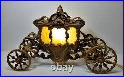 Vtg Carriage Coach Tv Lamp Wagon Night Light Metal with Slag Glass