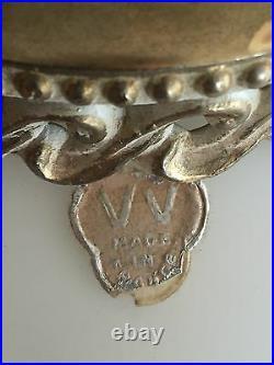 Vtg Frosted Glass VV France Hanging Lamp Light Gold Leaf Bronze Retro Decor Slag