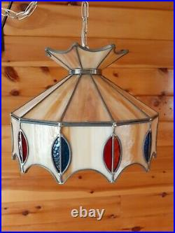 Vtg MCM Retro 1960s/70s Multicolored Slag Glass Hanging Swag Light/Lamp Fixture