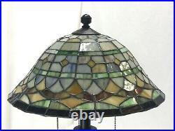 Vtg Stained Slag Glass Lamp Shade Arts & Crafts Mission Deco Tiffany Style 13.5