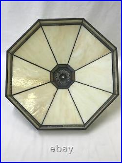 Vtg Stained Slag Glass Lamp Shade Arts & Crafts Mission Deco Tiffany Style 18
