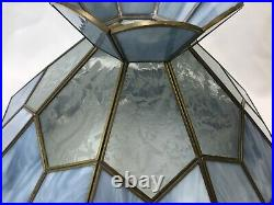 Vtg Stained Slag Glass Lamp Shade Light Blue Etched Clear Leaf 15 Floor / Table