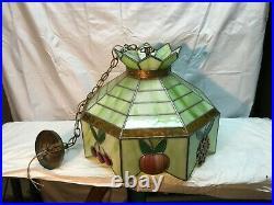 Vtg Tiffany Style Hanging Green Slag Glass Ceiling Light Fruit Lamp Shade 20