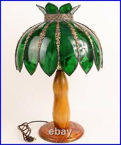 Vtg Wescal Tiffany Style Palm Tree Table Lamp Slag Glass Shade Stained Wood Base