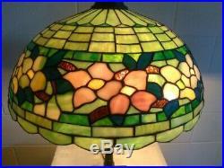 Wilkinson Dogwood leaded glass lamp-Handel Tiffany arts crafts era slag glass