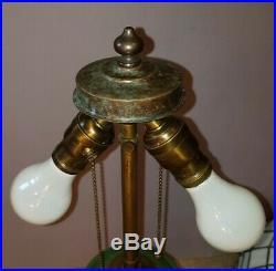 Williamson Hampshire Leaded Slag Stained Glass Table Lamp Handel Tiffany Era